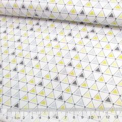 Tricoline Geométricos Triângulos - Amarelo