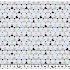 Tecido Tricoline Geométricos Triângulos - Azul