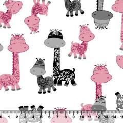 Tecido Tricoline Girafinhas Infantil - Rosa