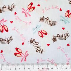 Tricoline I Love Ballet - Sapatilhas (Largura: 1,50 m)