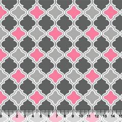 Tecido Tricoline Ladrilhos - Rosa e Cinza