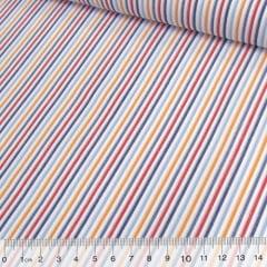 Tecido Tricoline Listras Coloridas - Azul (Largura: 1,50 m)