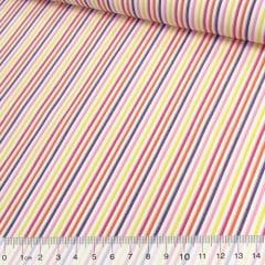 Tecido Tricoline Listras Coloridas - Multicolor (Largura: 1,50 m)