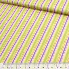 Tecido Tricoline Listras Fin - Verde e Lilás