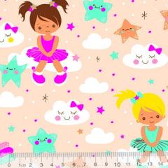 Tricoline Meninas e Estrelas - Rosa