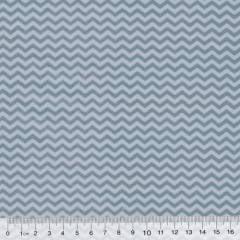Tecido Tricoline Mista Chevron Mini - Azul