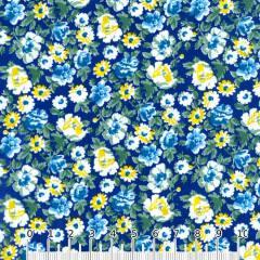 Tricoline Mista Floral Graceful - Azul