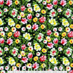 Tecido Tricoline Mista Floral Graceful - Preto