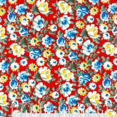 Tricoline Mista Floral Graceful - Vermelho
