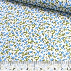 Tricoline Mista Floral Liberty Petal - Azul