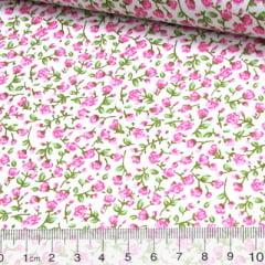 Tricoline Mista Floral Liberty Petal - Rosa