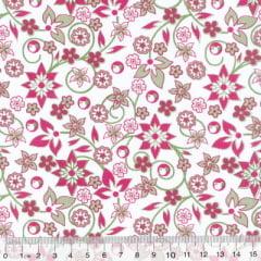 Tecido Tricoline Mista Floral Mazé - Rosa
