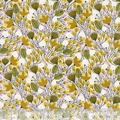 Tecido Tricoline Mista Floral Sochi - Amarelo