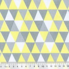 Tricoline Mista Geométricos - Amarelo