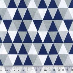 Tricoline Mista Geométricos - Azul Marinho