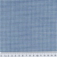 Tecido Tricoline Mista Mini Pied Poule - Azul Marinho