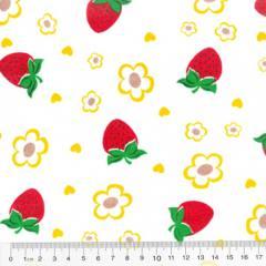 Tricoline Mista Morangos e Flores - Com Amarelo