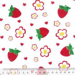 Tricoline Mista Morangos e Flores - Com Vermelho