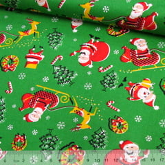 Tricoline Mista Natal Ho Ho Ho - Verde