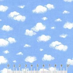 Tecido Tricoline Mista Nuvens de Algodão - Azul
