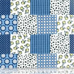 Tecido Tricoline Mista Patch Milk - Azul