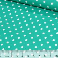 Tricoline Mista Poá Vintage - Verde c/ Branco