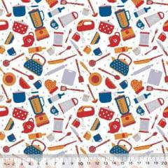 Tecido Tricoline Mista Poli - Cozinha Divertida - Colorido