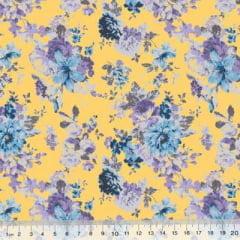 Tecido Tricoline Mista Poli - Floral Yellow Garden