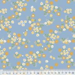 Tricoline Mista Poli - Flores Wind - Azul