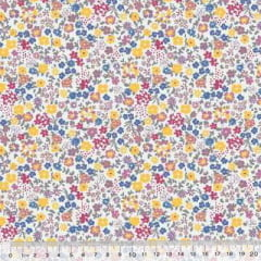 Tecido Tricoline Mista Poli - Little Garden Cute - Lilás