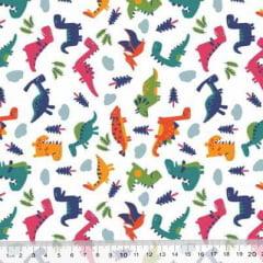 Tecido Tricoline Mista Poli - Pequenos Dinos - Colorido