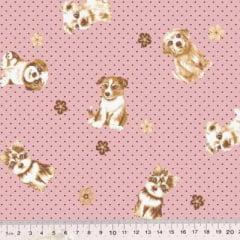 Tecido Tricoline Mista Poli - Cães e Poás - Rosê