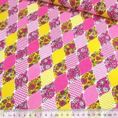 Tecido Tricoline Mista Pop Textoleen Balões Patch - Rosa - 50% Algodão 50% Poliéster - Largura 1,38m