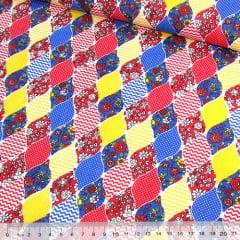 Tricoline Mista Pop - Balões Patch - Vermelho