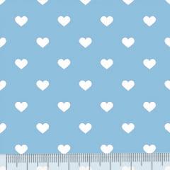 Tecido Tricoline Mista Pop Textoleen Corações Fundo Azul Claro - 50% Algodão 50% Poliéster - Largura 1,38m