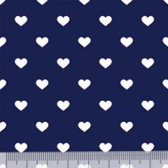 Tecido Tricoline Mista Pop - Corações Fundo Azul Marinho