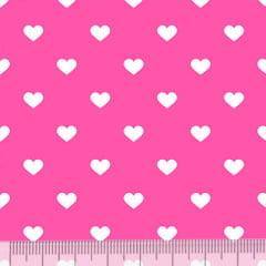 Tecido Tricoline Mista Pop - Corações Fundo Rosa Pink