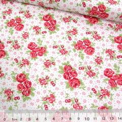 Tricoline Mista Pop - Floral Dalila - Vermelho