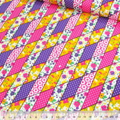 Tecido Tricoline Mista Pop Textoleen Fitinhas Patch - Rosa - 50% Algodão 50% Poliéster - Largura 1,38m