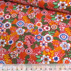 Tricoline Mista Pop - Floral Colores - Laranja