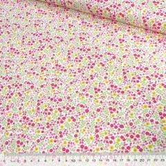Tecido Tricoline Mista Pop - Floral Jardim Colorido - Rosa