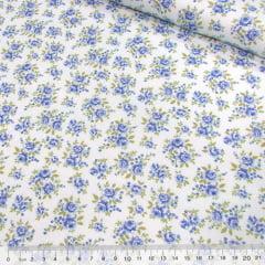 Tecido Tricoline Mista Pop - Floral Jardim Suave - Azul