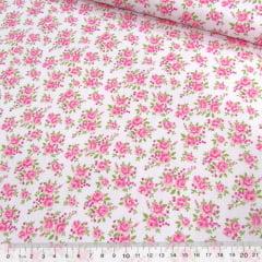 Tricoline Mista Pop - Floral Jardim Suave - Rosa
