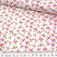 Tecido Tricoline Mista Pop Textoleen Floral Lana - Rosa