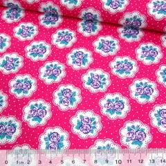 Tecido Tricoline Mista Pop Textoleen Floral Lindsay Poá - Rosa Pink