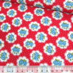 Tecido Tricoline Mista Pop Textoleen Floral Lindsay Poá - Vermelho