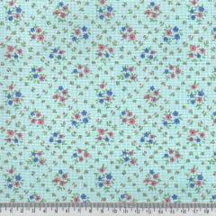 Tecido Tricoline Mista Pop - Floral Mini Buquê - Azul