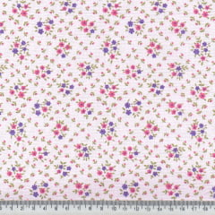 Tricoline Mista Pop - Floral Mini Buquê - Rosa
