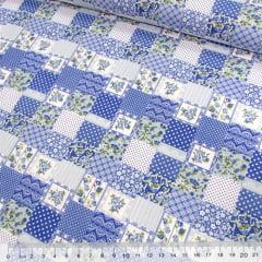 Tricoline Mista Pop - Mini Patchwork Floral Encanto - Azul