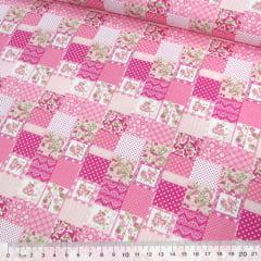 Tricoline Mista Pop - Mini Patchwork Floral Encanto - Rosa